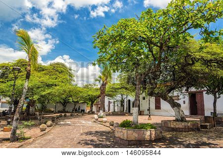 Tree Lined Plaza In Giron