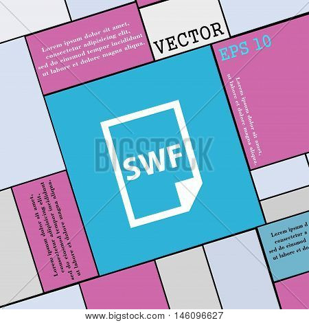 Swf File Icon Sign. Modern Flat Style For Your Design. Vector