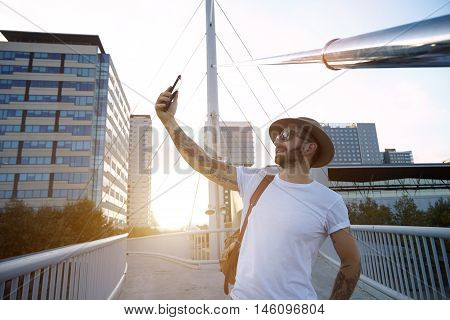 Taking Selfie At Sunset