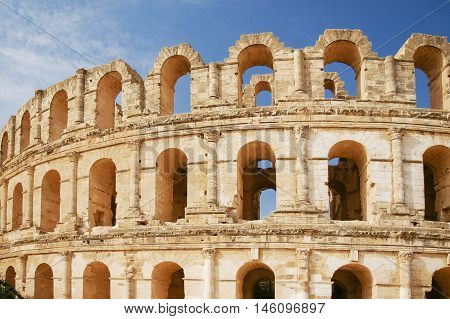 El Djem amphitheatre the most impressive Roman remains in Africa. Mahdia Tunisia. UNESCO World Heritage Site.