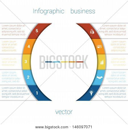 Vector Template Infographic Five Position. Colorful Semicircles and White Strips for Text Area. Business Area Chart Diagram Data.