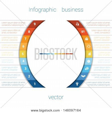 Vector Template Infographic Nine Position. Colorful Semicircles and White Strips for Text Area. Business Area Chart Diagram Data.