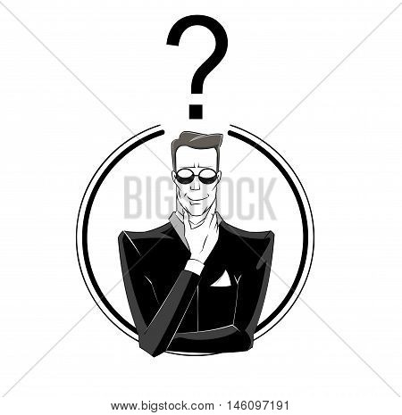Man in black suit with question mark under his head. Concept illustration of confusion mystery investigating. Vector