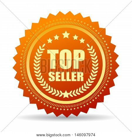 Top seller gold seal vector illustration isolated on white background