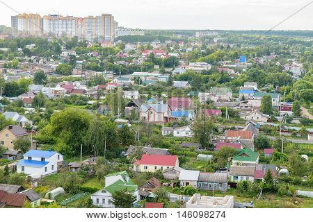 Landscape of a residential district with individual private houses
