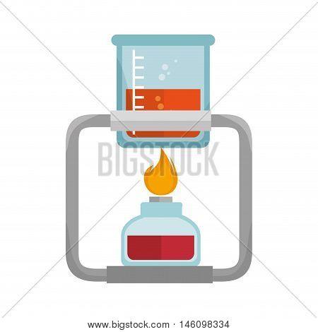 spirit lamp chemical alcohol fire burner with beaker glass. vector illustration