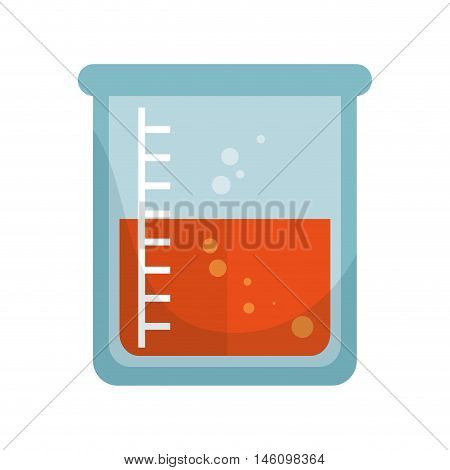 beaker flask chemical laboratory glass with liquid vector illustration