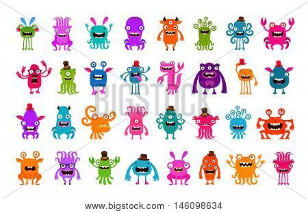 Vector set of cartoon cute monsters isolated on white background