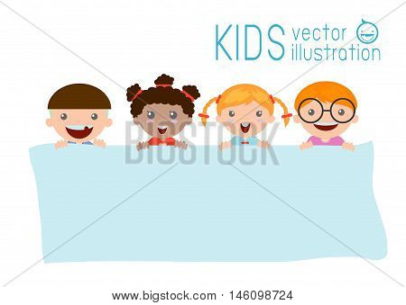 kids peeping behind placard, happy children, Cute little kids on white background,Vector Illustration