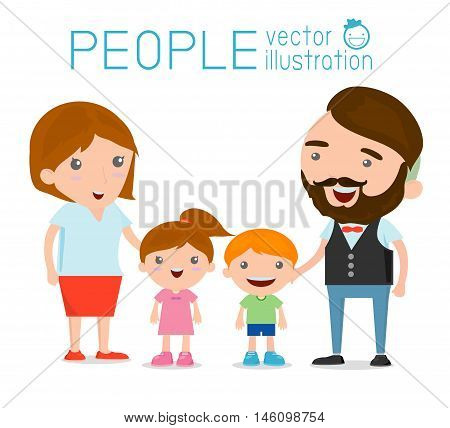 Happy family , Happy family gesturing with cheerful smile, Parents with kids. Vector colorful illustration in flat design isolated on white background, Vector Illustration