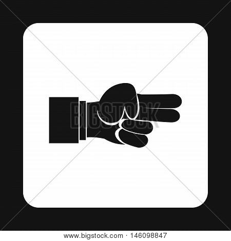 Hand showing two fingers icon in simple style on a white background vector illustration