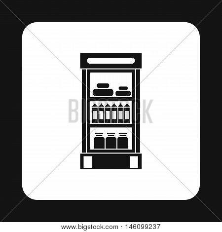Refrigerator showcase with dairy products icon in simple style on a white background vector illustration