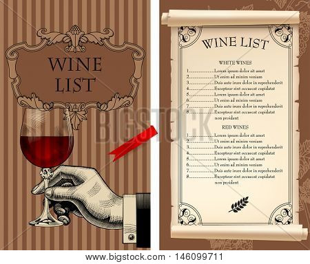 Wine list template with retro drawing of hand holding a transparent wineglass and old parchment. Vector illustration