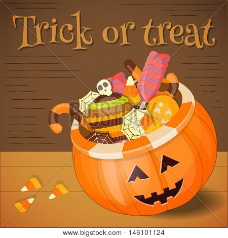 Jack-o-lantern Candy Basket with Pile of Colorful Halloween Sweet Treats. Halloween Pumpkin on Wooden Background. Vector Illustration.