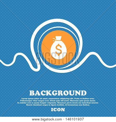 Money Bag Icon Sign. Blue And White Abstract Background Flecked With Space For Text And Your Design.