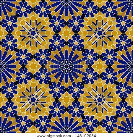 Razil Moorish Seamless Pattern. Decorative mosaic in ethnic style. Vector background illustration. Moroccan ceramic texture.