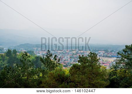 View Of A Small Town In Vietnam, Dien Bien. Panorama Landscape
