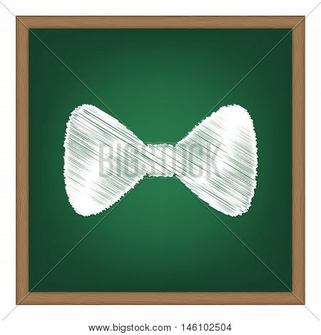Bow Tie Icon. White Chalk Effect On Green School Board.