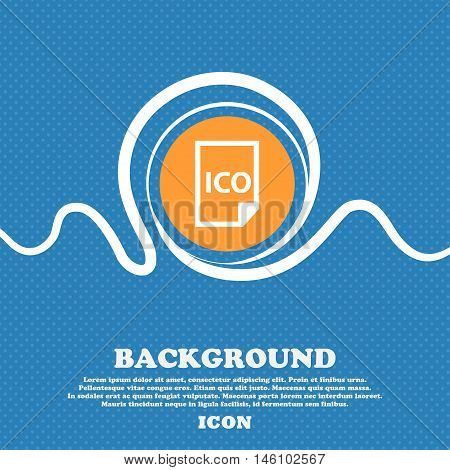 File Ico Icon Sign. Blue And White Abstract Background Flecked With Space For Text And Your Design.
