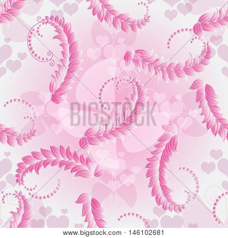 Valentine pink seamless pattern with pink translucent hearts and butterflies (vector eps10)