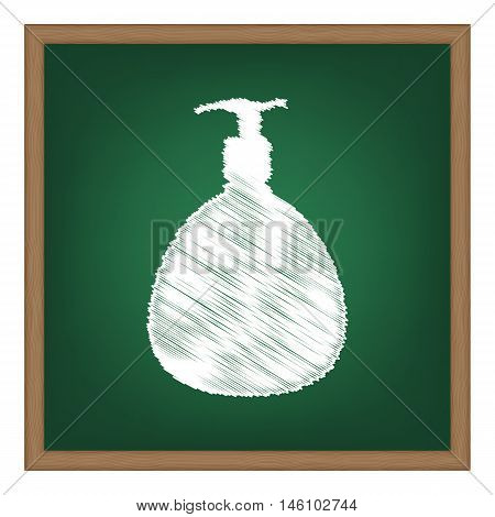 Gel, Foam Or Liquid Soap. Dispenser Pump Plastic Bottle Silhouette. White Chalk Effect On Green Scho