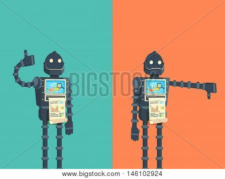Likes and dislikes. Good and bad. Robot showing gesture of approval and disapproval