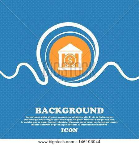 Bank Vector Icon Sign. Blue And White Abstract Background Flecked With Space For Text And Your Desig