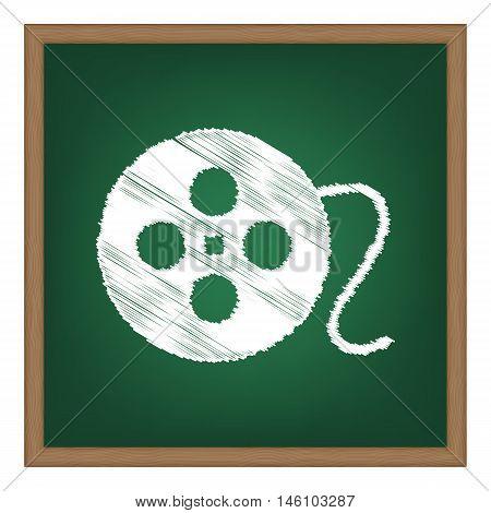 Film Circular Sign. White Chalk Effect On Green School Board.