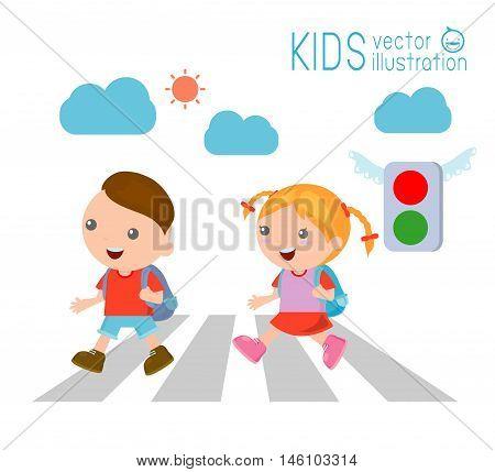 kids across the road , Children go to school,Vector Illustration