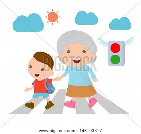 vector illustration of kid helping senior lady crossing the street, Boy helping old lady cross the street. Vector Illustration