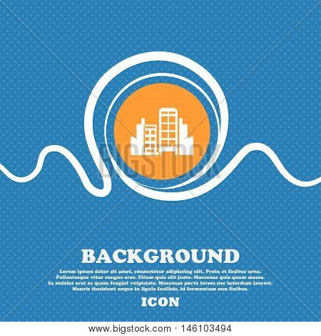 Buildings Icon Sign. Blue And White Abstract Background Flecked With Space For Text And Your Design.