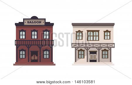 Vector western buildings, western style. Set of two old wild west cartoon flat houses