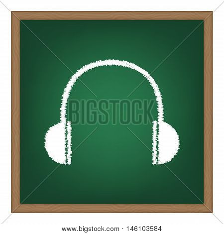 Headphones Sign Illustration. White Chalk Effect On Green School Board.