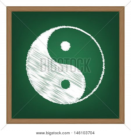 Ying Yang Symbol Of Harmony And Balance. White Chalk Effect On Green School Board.