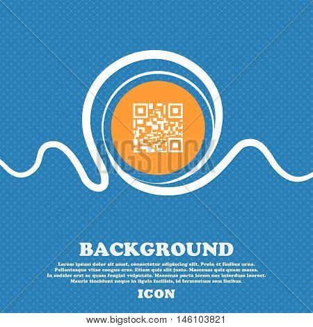 Barcode Icon Sign. Blue And White Abstract Background Flecked With Space For Text And Your Design. V