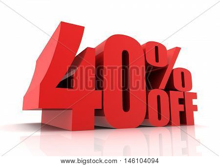 forty percent off sale 3d illustration isolated on white background