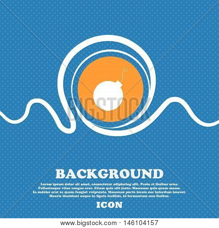 Bomb Icon Sign. Blue And White Abstract Background Flecked With Space For Text And Your Design. Vect