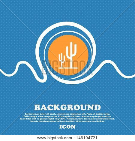 Cactus Icon Sign. Blue And White Abstract Background Flecked With Space For Text And Your Design. Ve