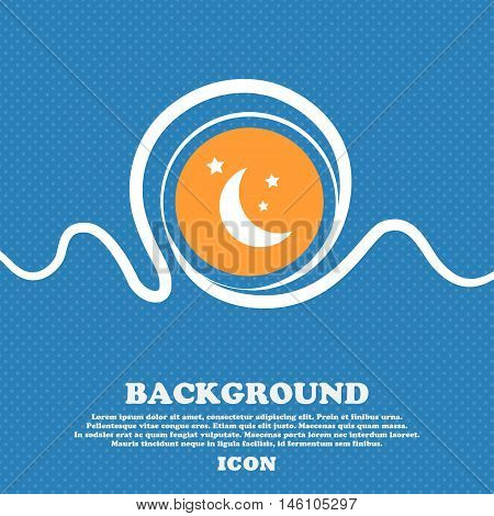 Moon Icon Sign. Blue And White Abstract Background Flecked With Space For Text And Your Design. Vect