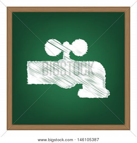 Water Faucet Sign Illustration. White Chalk Effect On Green School Board.