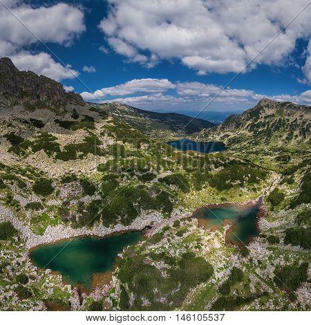 Aerial view of heart shape Mountain Lake panoramic view