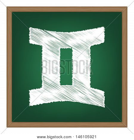 Gemini Sign. White Chalk Effect On Green School Board.