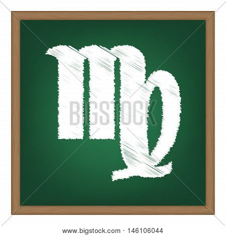 Virgo Sign Illustration. White Chalk Effect On Green School Board.