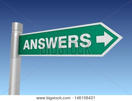 answers road sign 3d concept illustration on sky background