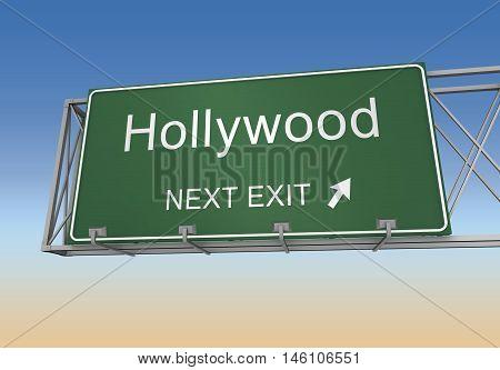 hollywood road sign 3d concept illustration on sky background