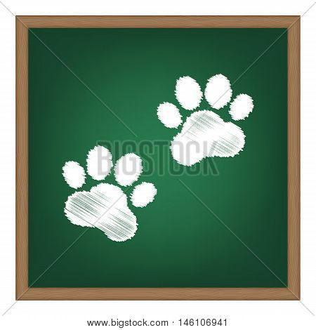 Animal Tracks Sign. White Chalk Effect On Green School Board.