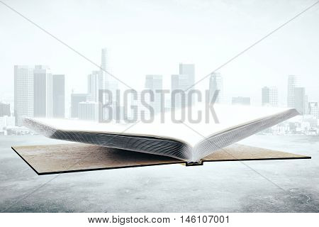 Empty open hardcover book on city background. Education concept. Mock up 3D Rendering