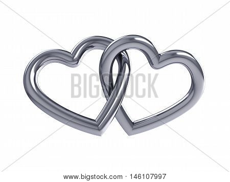 Couple of intersecting silver hearts isolated on white ,Valentine's day , Wedding