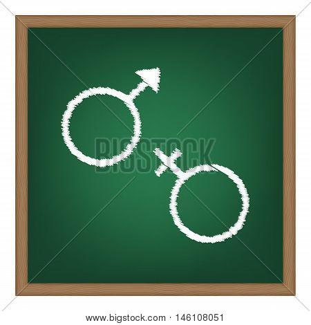 Sex Symbol Sign. White Chalk Effect On Green School Board.