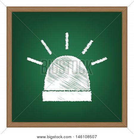 Police Single Sign. White Chalk Effect On Green School Board.